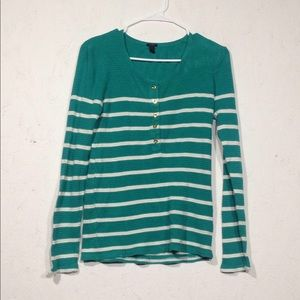 J. Crew | Thermal Green and White Long Sleeve M